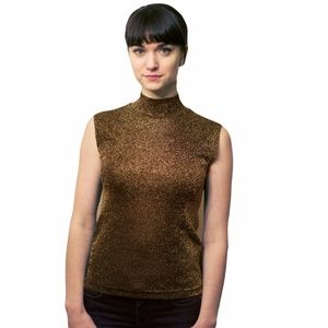 Vintage Sparkle Turtleneck Blouse Gold Brown